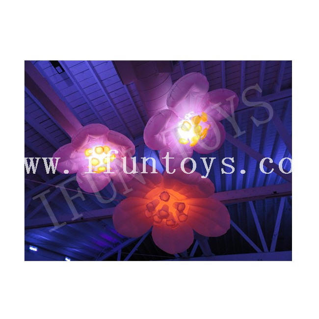 Hanging Inflatable Sakura Flower / Led Lighting Cherry Blossom for Stage Decoration