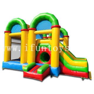 Rainbow Inflatable Bouncy Slide Combo with Tunnel / Funny Sport Field for Kids