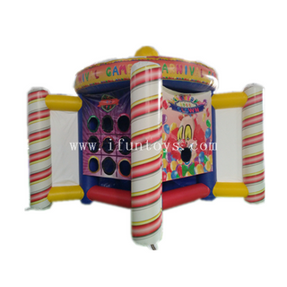 5 in 1 Inflatables Carnival Games Including Ball Toss/ Tic Tac Toe/clown Toss/ Color Matching And Sticky Darts /Inflatable Carnival Midway/Inflatable 5 in 1 Game Center