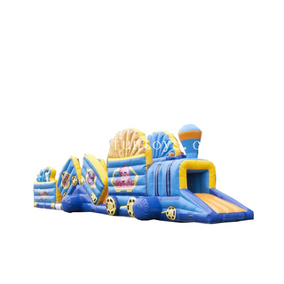 Most popular ocean world theme Train inflatable kids fun tunnel/wipeout inflatable obstacle tunnel course for sale