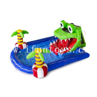 Inflatable Crocodile Mini Park / Ground Water Park / Inflatable Waterslide with Swimming Pool for Kids