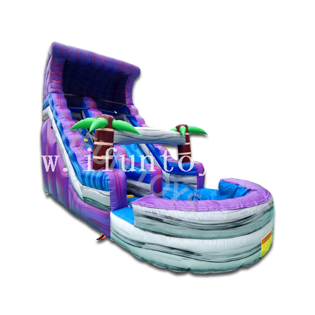 Tropical Marble Inflatable Water Slide with Swimming Pool / Cheap Palm Tree Water Slide with Air Blower for Sale