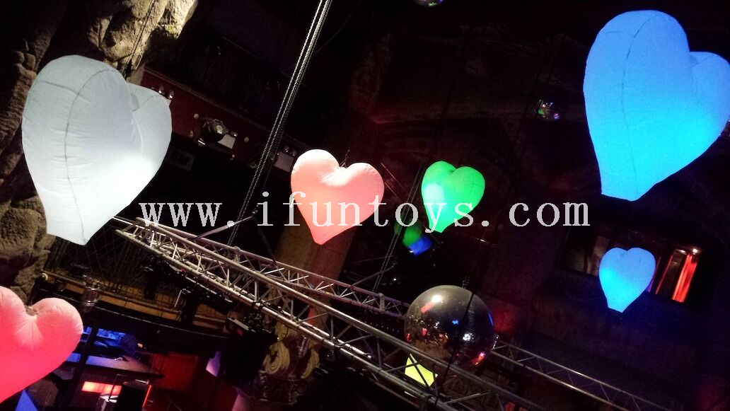 inflatable led lighting heart balloon/inflatable hanging heart for Wedding &Valentines decoration