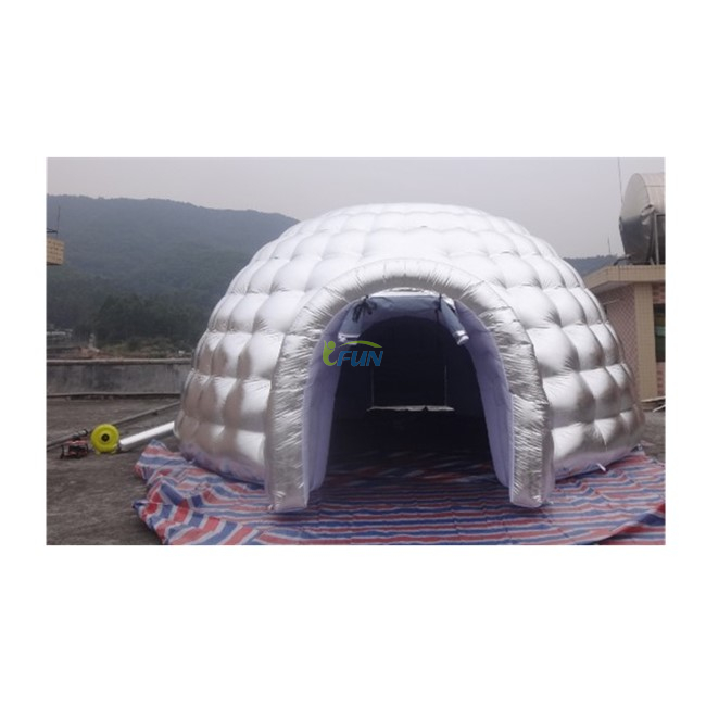 Inflatable Silver Igloo Tent with 2 Tunnels / Inflatable Air Igloo Dome Tent/ Inflatable Igloo Playhouse for Party/Event