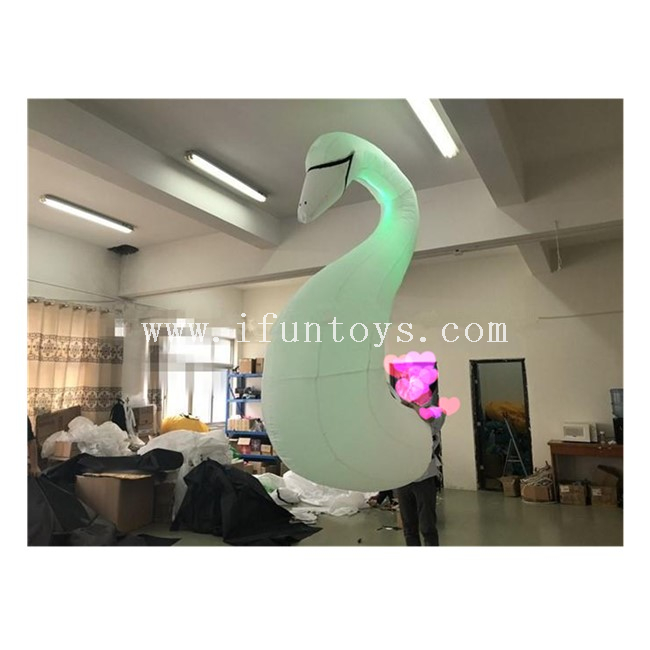 White Inflatable Swan Costume / Inflatable Walking Swan Costume with LED Light for Performance