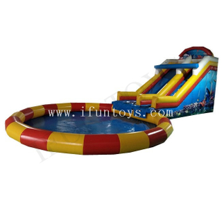 Giant Inflatable Ground Water Park / Inflatable Water Slide with Swimming Pool