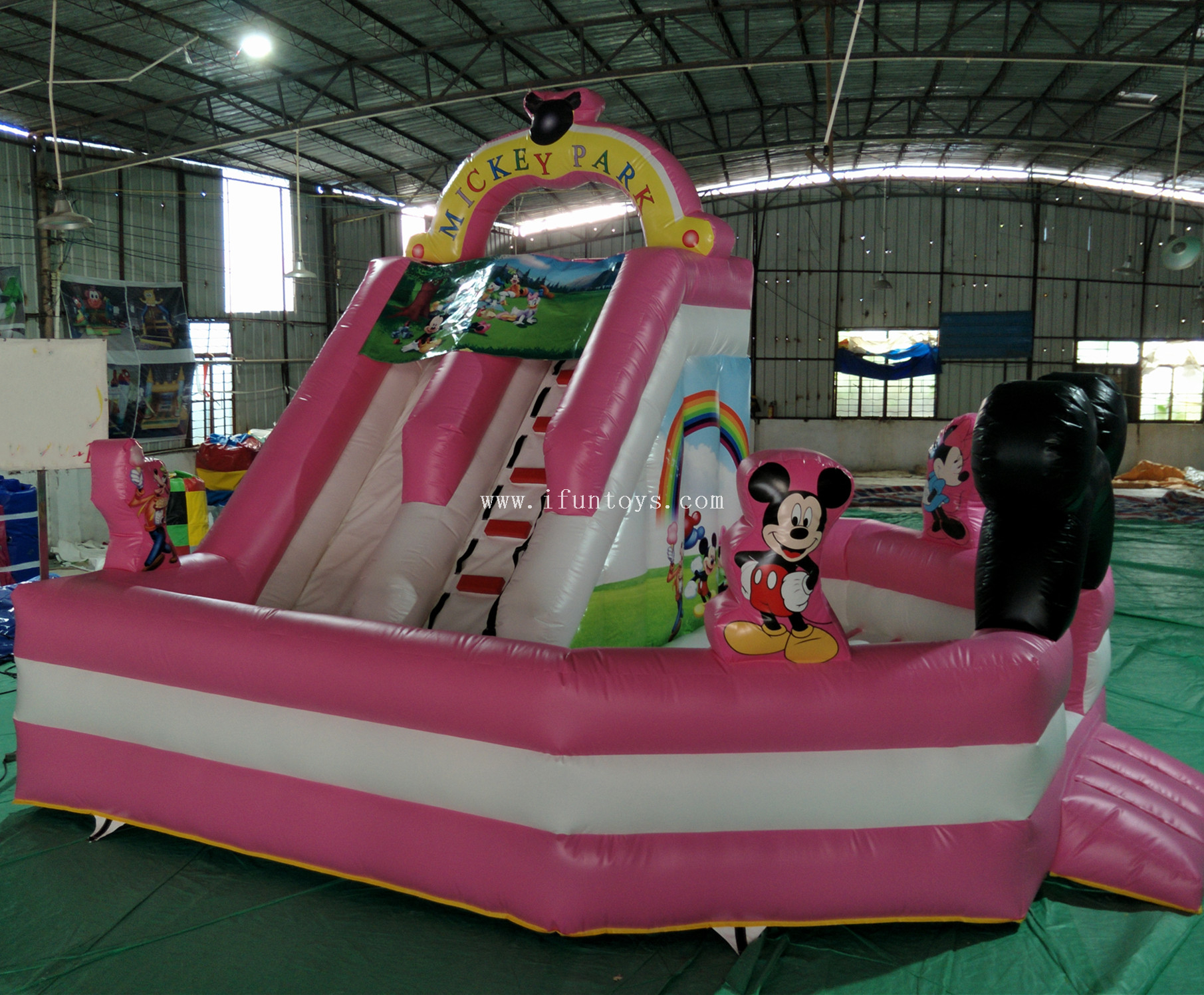Lovely mickey mouse inflatable combo bouncer/inflatable jumping castle with slide/inflatable mickey park toddler bouncer