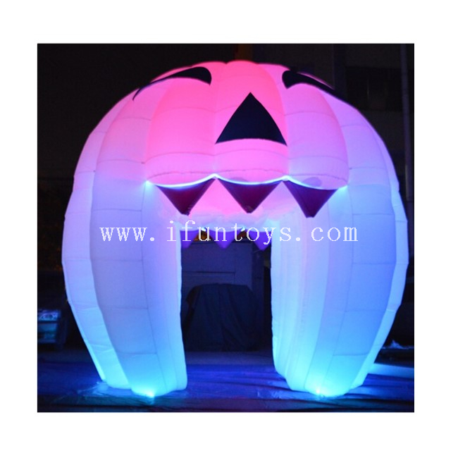 Inflatable Halloween Pumpkin Tent with LED Light / Pumpkin Inflatable Tunnel Tent